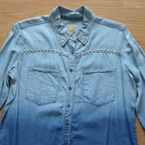 NWOT | Guess Lexi Studded Ombre Denim Shirt Size M